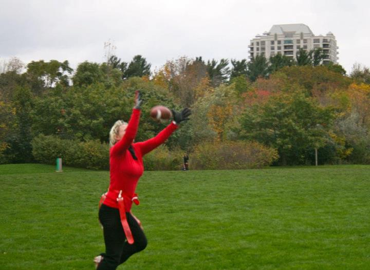 Anita playing flag football - Strong-Athlete.com