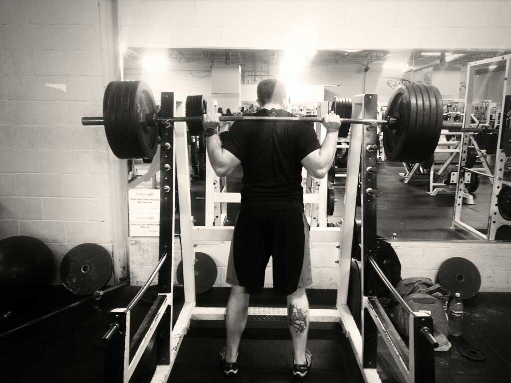 Big Dave Reesor easily squatted 500 lbs. in a leg training session.